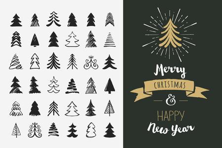 Ilustración de Hand drawn Christmas tree icons. Doodles and sketches - Imagen libre de derechos