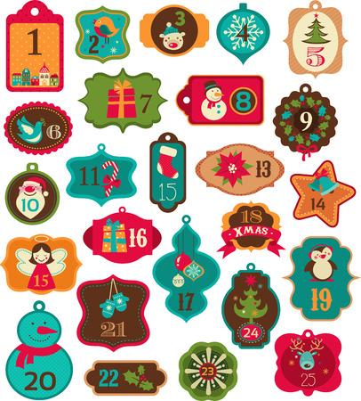 Illustration pour Advent Calendar - tags, labels and elements - image libre de droit
