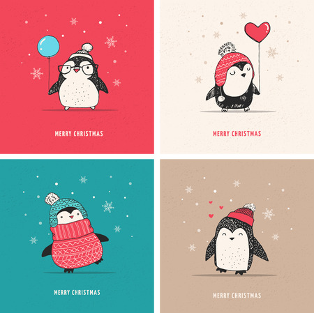 Cute hand drawn, vector penguins set - Merry Christmas greetings