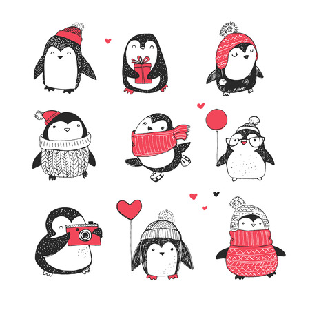 Ilustración de Cute hand drawn, vector penguins set - Merry Christmas greetings - Imagen libre de derechos