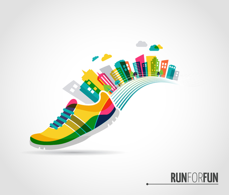 Illustration pour Colorful vector poster - running shoe and city lanscape - image libre de droit