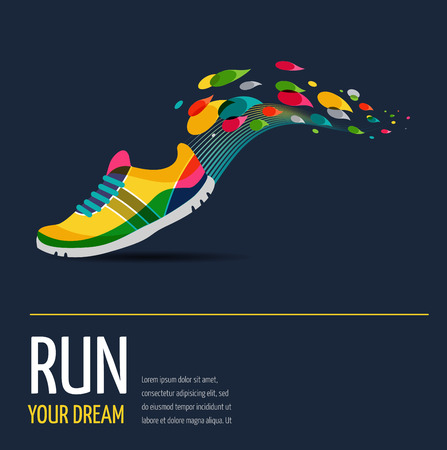 Illustration pour Colorful vector poster - running and sport - image libre de droit