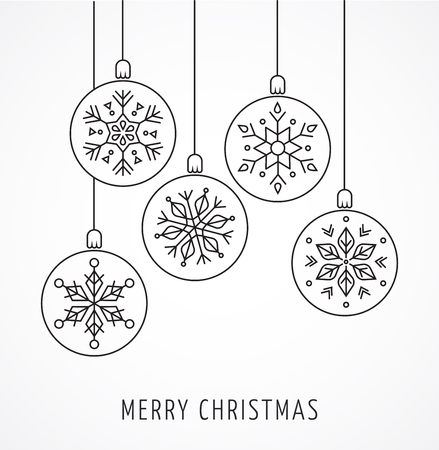 Illustration for Snowlakes, geometric line art Christmas ornaments, background - Royalty Free Image
