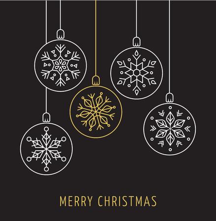 Illustration pour Snowlakes, geometric line art Christmas ornaments, background - image libre de droit