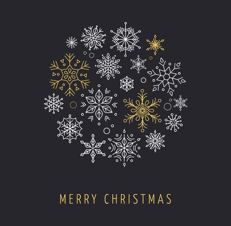Illustration for Snowlakes set, geometric line art Christmas ornaments, background - Royalty Free Image