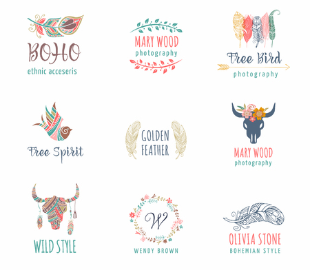 Illustration pour Bohemian, tribal, ethnic icon set with feather, bird and flower wreath - image libre de droit