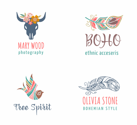 Bohemian, tribal, ethnic icon set with feather, bird and skull of bull