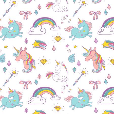 Illustration pour the Magic hand drawn pattern with unicorn, rainbow in pastel colors - image libre de droit