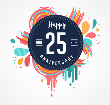 Illustration for anniversary - abstract background with icons, color splashes and elements - Royalty Free Image