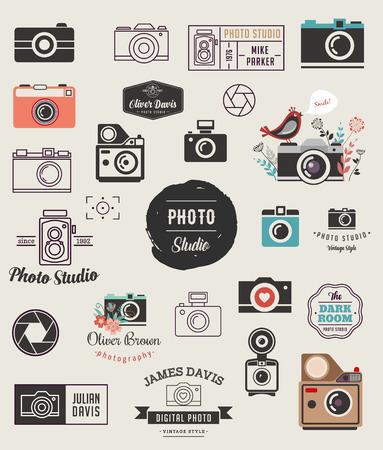 Ilustración de Photographer, cameras, photo studio elements, icons collection - Imagen libre de derechos