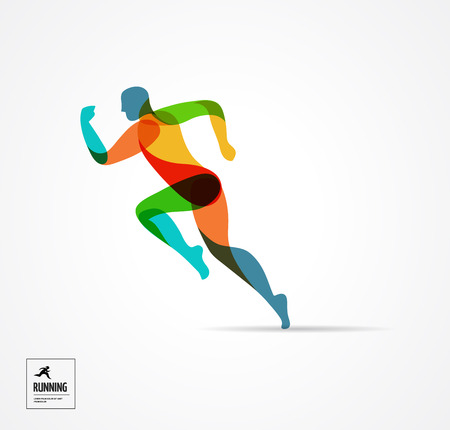 Illustration pour Running man, sport colorful poster, icon with splashes, shapes and symbol - image libre de droit