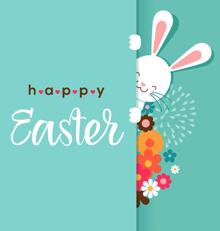 Illustration pour Colorful Happy Easter greeting card with rabbit, bunny, eggs and banners, tags, labels - image libre de droit
