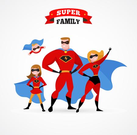 Ilustración de Super family in superhero costumes - parents and kids - Imagen libre de derechos