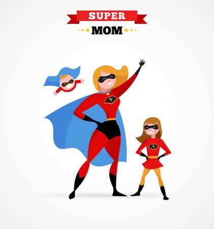 Ilustración de Super mother make fun in superhero costume - mum with kids - Imagen libre de derechos