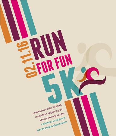 Ilustración de Running marathon, people run, sport poster - Imagen libre de derechos