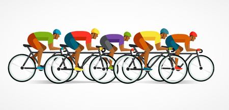 Illustrazione per cyclist riding on bicycle, vector illustration and poster - Immagini Royalty Free