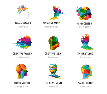 Illustration pour Brain, smart, Creative mind, learning and design icons. Man head, people colorful symbols - image libre de droit