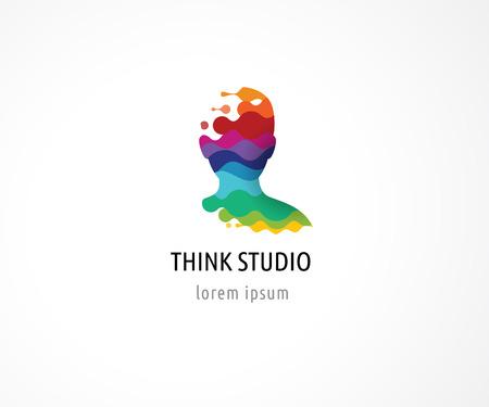 Illustration pour Brain, smart, Creative mind, learning and design icons. Man head, people colorful symbols - image libre de droit