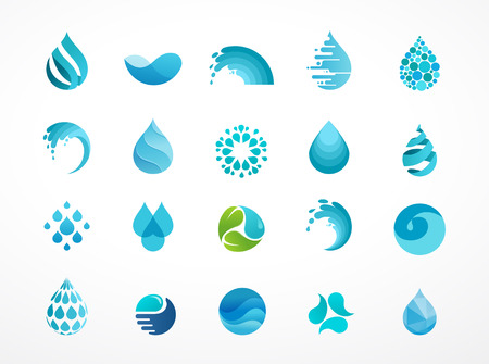 Ilustración de set of water, wave and drop icons, symbols - Imagen libre de derechos