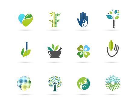 Ilustración de Alternative, Chinese medicine and wellness, yoga, zen meditation concept - vector icons, logos - Imagen libre de derechos