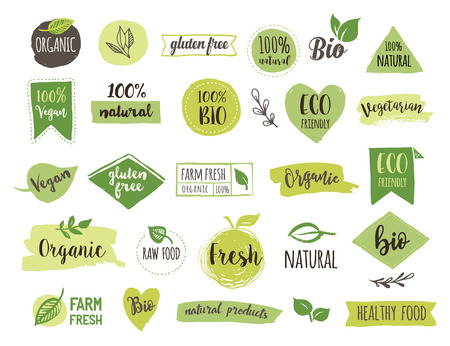 Illustration pour Bio, Ecology, Organic logos and icons, labels, tags. Hand drawn bio healthy food badges, set of raw, vegan, healthy food signs, organic and elements set - image libre de droit