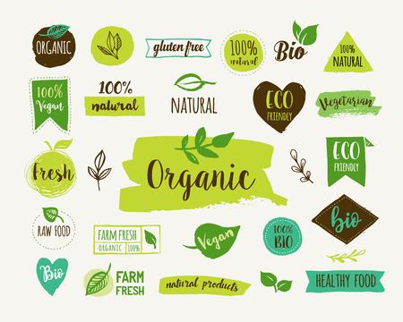 Ilustración de Bio, Ecology, Organic logos and icons, labels, tags. Hand drawn bio healthy food badges, set of raw, vegan, healthy food signs, organic and elements set - Imagen libre de derechos