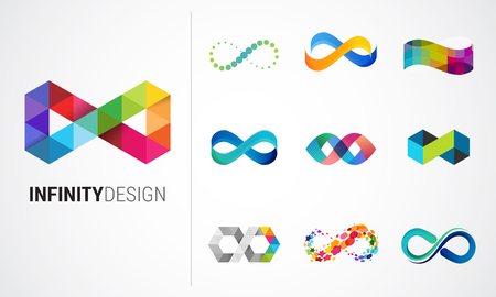 Illustration pour Colorful abstract infinity, endless symbols and icon collection - image libre de droit