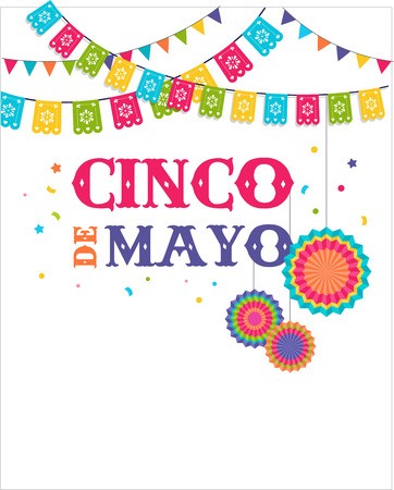 Illustration for Cinco de mayo, Mexican fiesta banner and poster design with flags, decorations, - Royalty Free Image