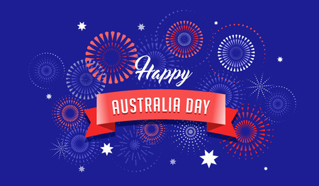 Illustration for Australia day, fireworks and celebration background, poster, banner - Royalty Free Image