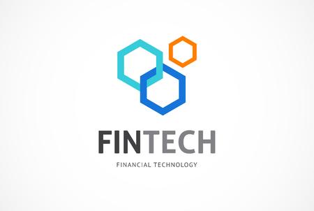 Illustration pour Modern logo innovative concept for fintech and digital finance industry - image libre de droit