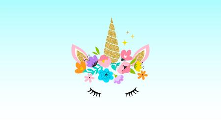 Illustration for Unicorn cute illustration - card and shirt design. - Royalty Free Image
