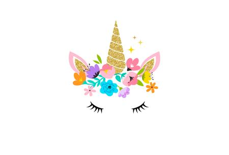 Illustration pour Unicorn cute illustration card and shirt design - image libre de droit