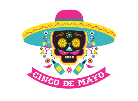 Illustration for Cinco de Mayo, Mexican fiesta, holiday poster, party flyer, greeting card with skull design. - Royalty Free Image