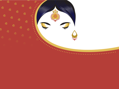 Illustration for Indian woman with saree. Beautiful hindu girl background, banner - Royalty Free Image