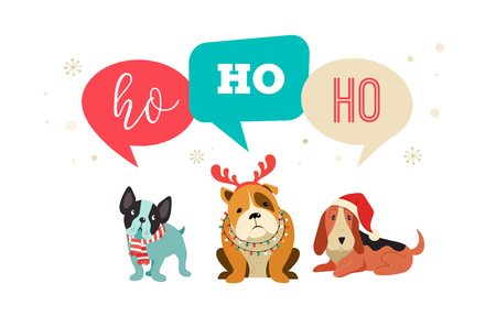 Illustrazione per Collection of Christmas dogs, Merry Christmas illustrations of cute pets with accessories like a knited hats, sweaters, scarfs, vector graphic elements - Immagini Royalty Free