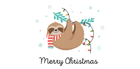 Illustration pour Cute lazy sloths, funny Merry Christmas illustrations with Santa Claus costumes, hat and scarfs, greeting cards set, banner - image libre de droit