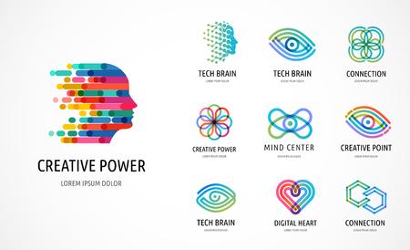 Ilustración de Brain, Creative mind, learning and design icons, logos. Man head, people symbols - stock vector - Imagen libre de derechos