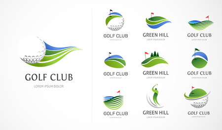 Illustration pour Golf club icons, symbols, elements and logo collection - image libre de droit