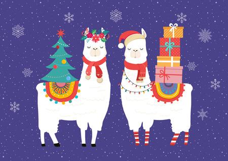 Ilustración de Llama winter illustration, cute design for nursery, poster, Merry christmas, birthday greeting card - Imagen libre de derechos