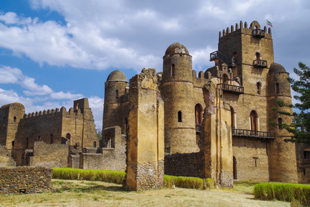 Photo for Fasilides Castle, founded by Emperor Fasilides. Fasil Ghebbi (Royal Enclosure) is the remains of a fortress-city. Its unique architecture shows various influences including Nubian styles. UNESCO World Heritage Site. Ethiopia, Gondar - Royalty Free Image