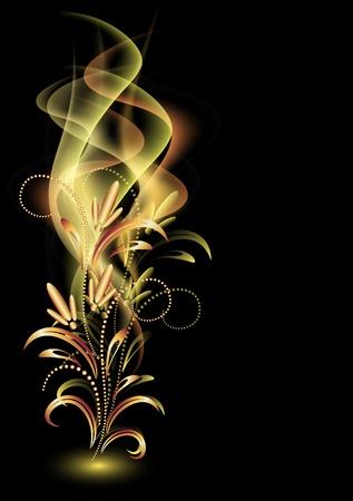 Foto de Glowing background with smoke and golden ornament - Imagen libre de derechos