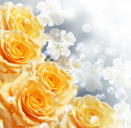 Photo for Card with yellow roses   - Royalty Free Image