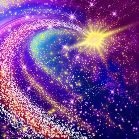 Foto de Flying yellow comet in the space - Imagen libre de derechos