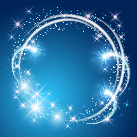 Illustration for Glowing blue background with sparkle stars round frame - Royalty Free Image