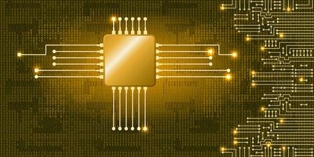 Ilustración de Drawing modern electronic circuit and binary code on blue background - Imagen libre de derechos