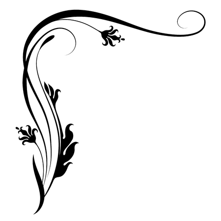 Ilustración de Decorative floral corner ornament for stencil isolated on white background - Imagen libre de derechos