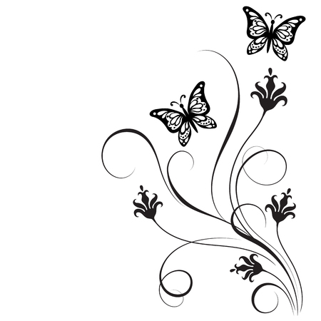 Ilustración de Decorative floral corner ornament with flowers and butterfly for stencil isolated on white background - Imagen libre de derechos