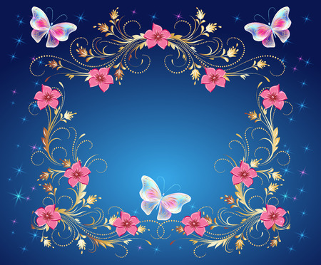 Ilustración de Magic butterflies with golden ornament, flowers ornate and glowing stars Vector illustration. - Imagen libre de derechos