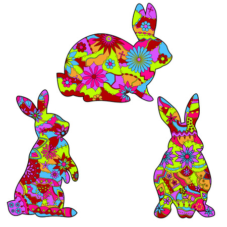 vector set of isolated rabbits