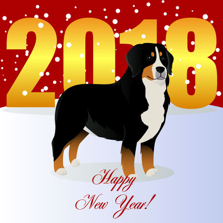 Illustration pour Happy new year card with Bernese mountain dog. - image libre de droit